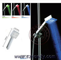 LD8008-A4 Greem Blue Red 3 Color Temperature Controlled LED Square Shower Head and Bathroom Sprinkler