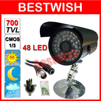 1/3 Color CMOS 700TVL 48 LED 6mm Lens Night Vision Indoor/Outdoor Wterproof Weatherproof security IR CCTV Camera Free Shipping