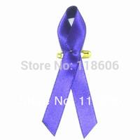 Free Shipping 500pcs Purple Ribbon Cancer Awareness Fabric Lapel Pin