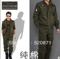 Unique 100% men's cotton clothing outdoor set military work wear set male belt liner sleeves