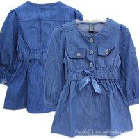 Free shipping Baby girls Denim dress jean Dresst Your waist the waist Dress long sleeve autumn spring Dress round collar 1035