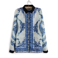 2013 New Fashion Women's OL Elegant Blue Chinese Porcelain Print Blouse Quality Casual Shirt Slim Brand Designer Tops OL Blouse