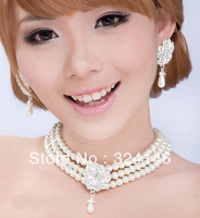 Free shipping 100% pearl bridal jewelry sets necklace+earrings+bracelet  jewelry sets alloy bib necklace