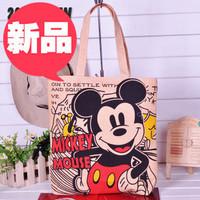 Hot asual bag! hot beach bag! canvas fabric shopping bag! totes! Micky mouse handbag shoulder bag!
