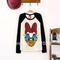 Fashion women's dz61 donald duck pattern color block raglan sleeve all-match basic t-shirt Free shipping