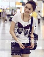 2013 summer fashion women's plus size slim t shirt short-sleeve T-shirt female 302 Free shipping