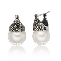 Day gift classic elegant all-match the moon vintage silver earrings pearl earrings