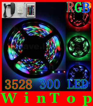 5M 3528 RGB 300Leds NO-Waterproof SMD Flexible Light Strip and 24key IR Remote and 12V 3A Power Supply US AU EU UK