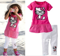 girls summer sets children short sleeve Sport suits shirt+PANTS set Cotton cute Baby clothing 5PCS/lotfree shipping,TG678