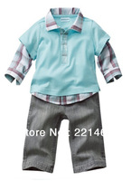 1 pcs retail ,casual style boy long sleeve imitate two picecs shirt+jeans 2pcs/set  BB12