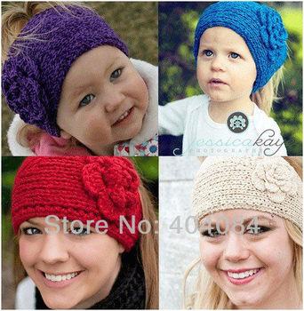 Fashion Adult Handmade knit Headband kids crochet Flower headwrap Earband Headwear 16colors 12pcs/lot