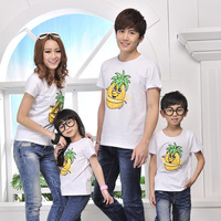 Free Ship Kids T shirt Cotton Pineapple Design Shirt for a whole Family members Fashion short-sleeve Tee Free Ship