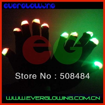 Free Shipping 2pcs(1pair)/lot 7 modes black/white led gloves Rave Light Finger LED flashing gloves well for Christmas