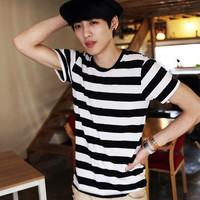Brief o-neck zebra print black and white stripe short-sleeve T-shirt fashionable casual basic t shirts navy style shirt male