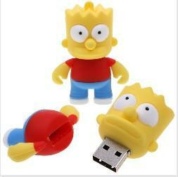 Wholesale Fashion Cartoon Simpsons Bart 4GB USB LED Flash 2.0 Memory Drive Stick Pen/Thumb/Car+ Free shipping+Drop shipping