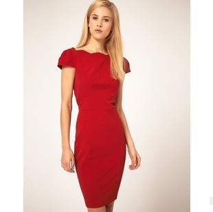 L0300, free drop shipping women dress office ladies slim knee length dress ruffled collar  empire backless