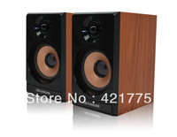 Free Shipping Professional USB 2.0 Wooden Speakers With Volume Control Hairline Panel for Laptop tablet computer speaker