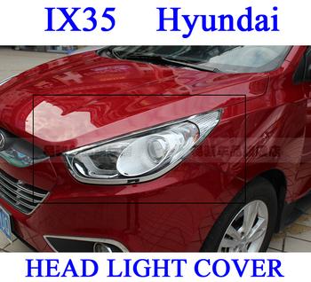 Hight quality !! IX35 Hyundai, Hihgt ABS CHROME Headlight Head Light Lamp Cover TRIM, FREE SHIPPING Via EMS!!