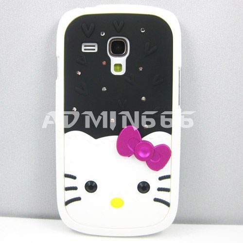 Hot Multicolor Cartoon Hello Kitty Cat Bling Stone Hard Rubber Case Cover Coating For Samsung Galaxy S3 mini i8190(China (Mainland))