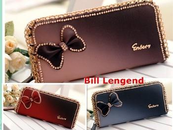 Shiny bow diamond  female Long wallet sexy zipper wallet fashion sexy woman purse new sweet gold chain cute women card holder
