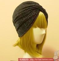 Women High Quality Elastic Headbands Wide Style Lighter Black Muslim Turban Bandanas Free Shipping 20colors
