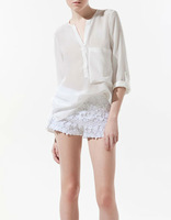 BEAUTIFUL V-NECK SINGLE POCKET FOLD SLEEVE CHIFFON LONG SLEEVE SHIRT WF-3959