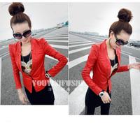 Free shipping 2013 new style Black PU leather slim short  jacket fashion coat