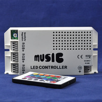 NEW DC12V-24V 3 Channels Max 9A Output Current Common Anode IR Remote RGB LED Lighting Music Controller
