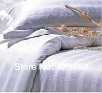 Free Shipping 100% Cotton 300TC Jacquard 4PCS Hotel Bedding Set Duvet Cover Set Flat Sheet Set Pillow Bed Linen