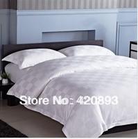 Free Shipping 100% Pakistan Cotton Jacquard White Design 4PCS Duvet Cover Set Flat Sheet Set  Queen King Set