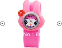 Free Shipping New Children's Cute Rabbit Design Watch with Plastic Strap (Pink) For Gift