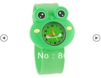 Free Shipping New Children's Analog Watch with Frog Shaped Dial & Bendable Plastic Strap (Green) For Gift
