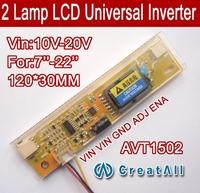 Free shipping 5PCS AVT1502 LCD CCFL inverter,2 LAMP universal lcd inverter board for 2 CCFL LCD panel