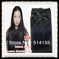 "20""22""Clips in remy 100%human hair off extensions color 1B#off black/natural black 100g containing 8pieces/set free shipping"