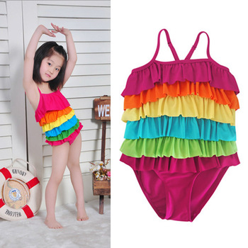 NEW Baby Girls One Piece Colorful Ruffled Swimwear Bikini Swimsuit Bathing Suit