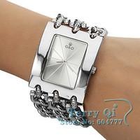 New Fashion Bracelet Watch Quartz Men Women Unisex Silver Wristwatch Free Ship