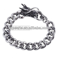 Topearl Jewelry Mens Stainless Steel Dragon Head Curb Link Chain Bracelet MEB111