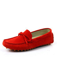 [(My God)] 2014 women's spring autumn gommini loafers flat bottom single cowhide female casual nubuck genuine leather boat shoes