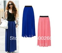 Free shipping 2014 New Arrival Spring Summer Chiffon Full Long Maxi Skirt Puff Beach Skirts High Waist Elastic Waistband #5321