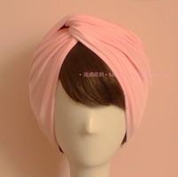 Europe Fashion Trend Women Classic Vintage Elastic Silk Headbands Wide Style Pink Muslim Turban Bandanas wholesale