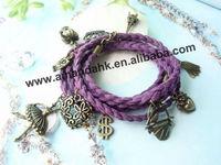 100pcs/lot pendant cotton  bracelet for lady 12 colors wave bracelet free shipping