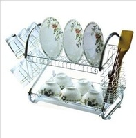 Upgrade multi-function stainless steel dish rack shelf/double drop