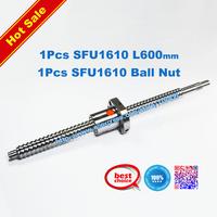Free Shipping SFU1610 600mm RM1610 600mm Rolled Ball screw 1pcs+1pcs ballnut + end machining for BK12/BF12 standard processing