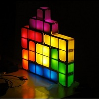Tetris lamp recesky 3D puzzle diy night light American high-tech top 20 products Building blocks toys,4 pcs/lot,Christmas Gift