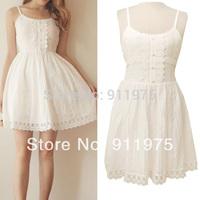White suspender  white   small fresh slim basic  dress 2014