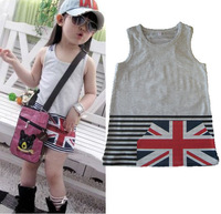 2013 Summer Children Girls Gray Mini Dress National Flag Printed Dress Kids Clothes Free Shipping 5 PCS