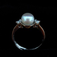 Free shipping 7-8mm natural pearl ring jewelry adjustable 925 sterling silver button pearl ring
