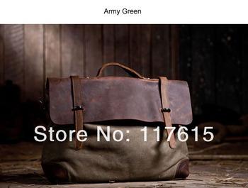 BFZ4 Vintage Khaki  Washed Canvas Leather Shoulder bag messenger mailbag school work laptop bag for women girl boy men