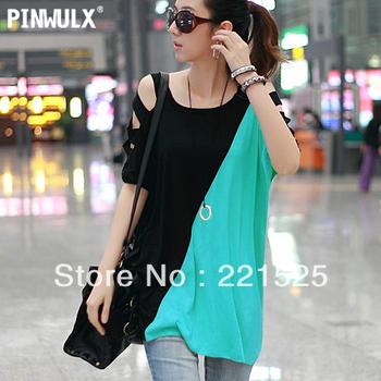 Free shipping 2013 summer i fashion strapless personality medium-long loose maternity clothing women's o-neck  t-shirt