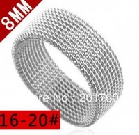 Stainless steel grid silver men's ring rings  free shipping